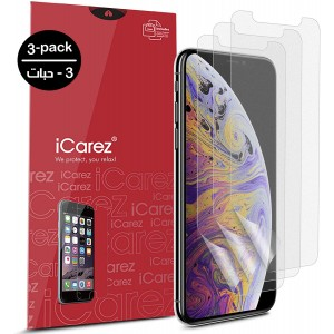 واقي شاشة ايفون 11 / ايفون إكس آر iPhone 11 / iPhone XR ماركة آي كيرز iCarez استكر مقاوم التوهج متوافق مع الجرابات - 3 حبات