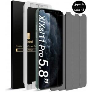 واقي شاشة زجاجي ايفون 11 / ايفون إكس آر iPhone 11 / iPhone XR ماركة يو شيلد uShield استكر زجاجي لحفظ الخصوصية ضد التجسس مع إطار التركيب متوافق مع الجرابات - 3 حبات