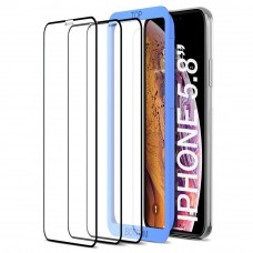 واقي شاشة زجاجي ايفون 11 برو / ايفون إكس / ايفون إكس اس iPhone 11 Pro / iPhone X / iPhone XS ماركة تيثيس Tethys استكر زجاجي من الحافة للحافة مع إطار التركيب حواف سوداء - 3 حبات