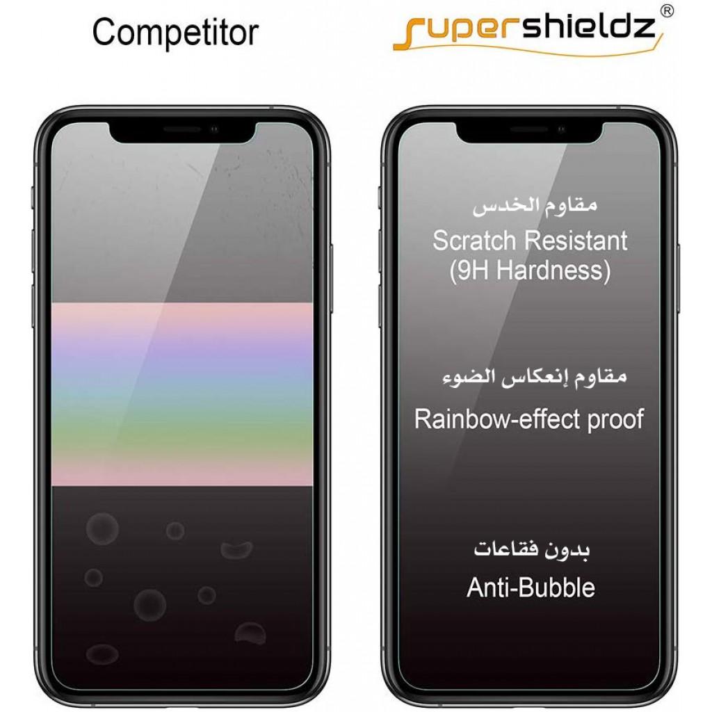 واقي شاشة زجاجي ايفون 11 برو ماكس / ايفون إكس اس ماكس iPhone 11 Pro Max / iPhone XS Max ماركة سوبر شيلدز Supershieldz استكر زجاج مع إطار التركيب متوافق مع الجرابات - 3 حبات