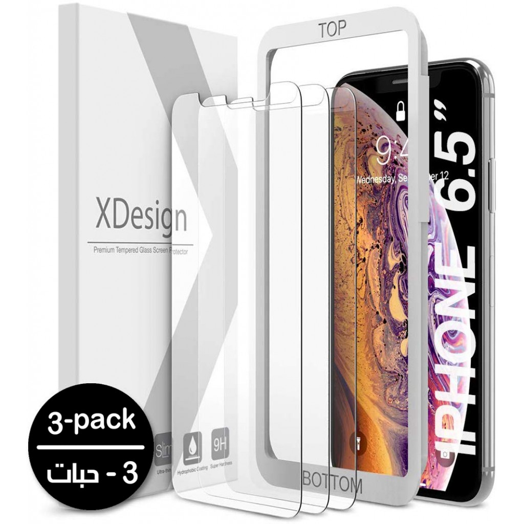 واقي شاشه زجاجي ايفون 11 برو ماكس / ايفون إكس اس ماكس iPhone 11 Pro Max / iPhone XS Max ماركة إكس ديزاين Xdesign استكر زجاج مع إطار التركيب متوافق مع الجرابات - 3 حبات