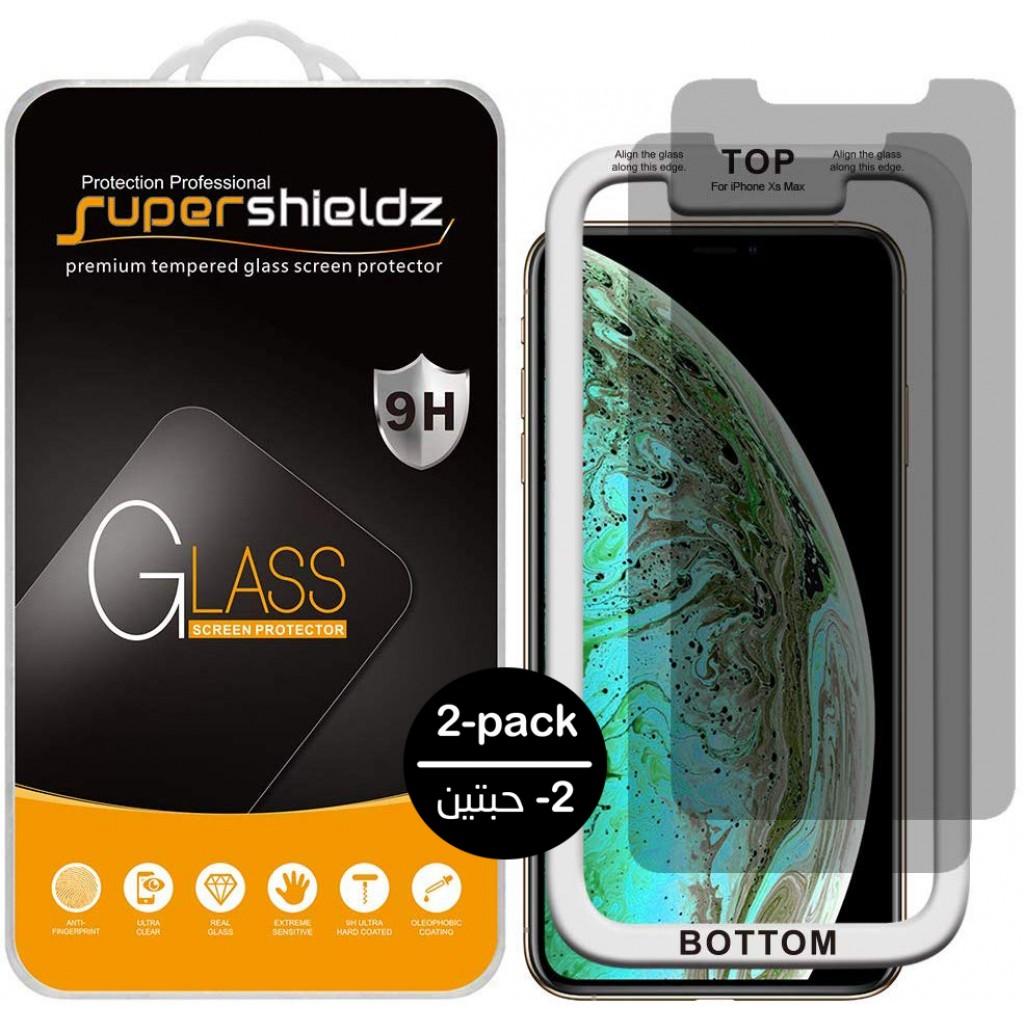 واقي شاشة زجاجي ايفون 11 برو ماكس / ايفون إكس اس ماكس iPhone 11 Pro Max / iPhone XS Max ماركة سوبر شيلدز Supershieldz استكر زجاج ضد التجسس مع إطار التركيب متوافق مع الجرابات - 2 حبتين