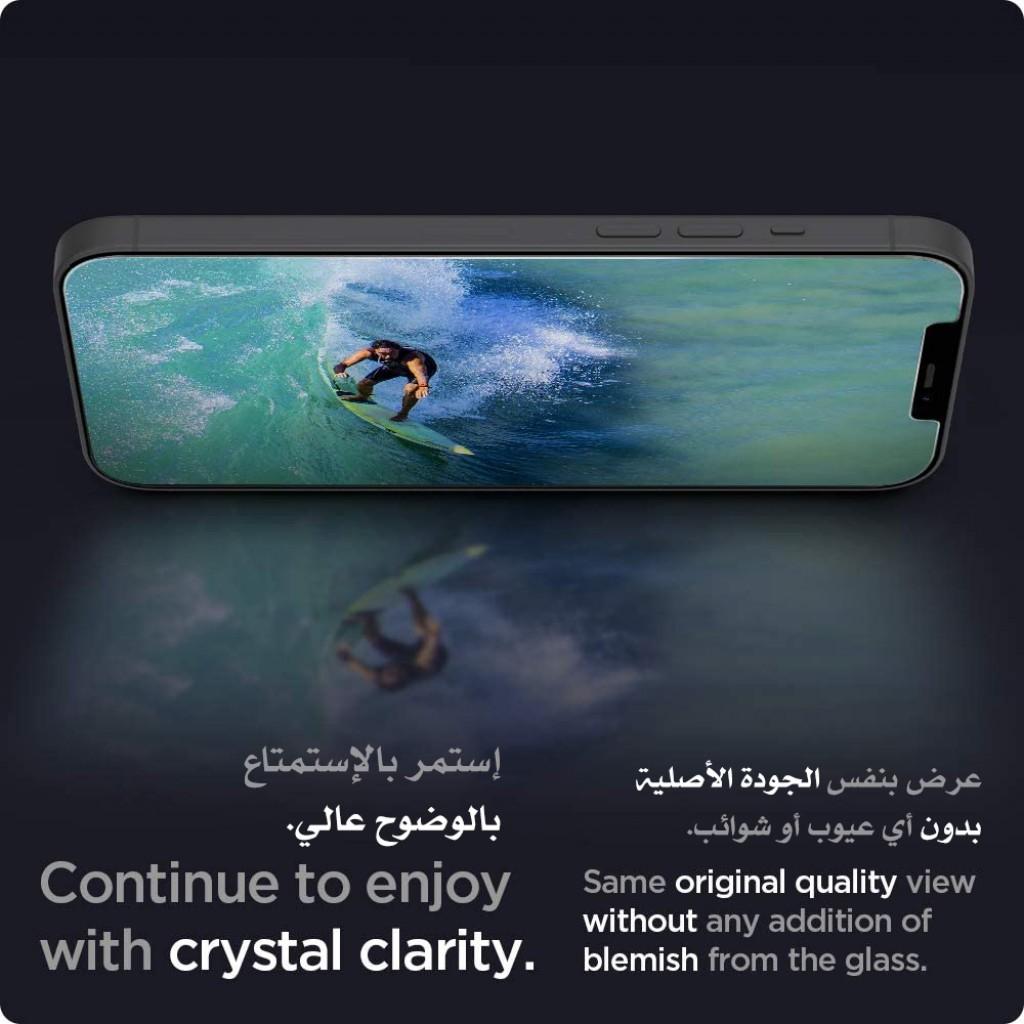 واقي شاشة زجاجي ايفون 12   12 برو ماركة سبايجن Spigen استكر زجاج تصميم جلاستر إي زد - 2 حبتين