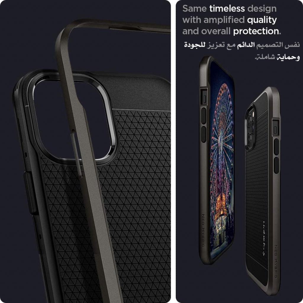 كفر ايفون 12 برو ماكس ماركة سبايجن Spigen قطعتين كفر مرن واطار صلب تصميم نيو هايبرد - نحاسي