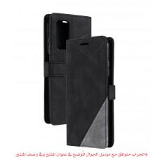 جراب جالكسي ايه 72 A72, محفظة مع ستاند ومكان للبطاقات والنقود - اسود