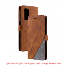 جراب جالكسي ايه 72 A72, محفظة مع ستاند ومكان للبطاقات والنقود - بني