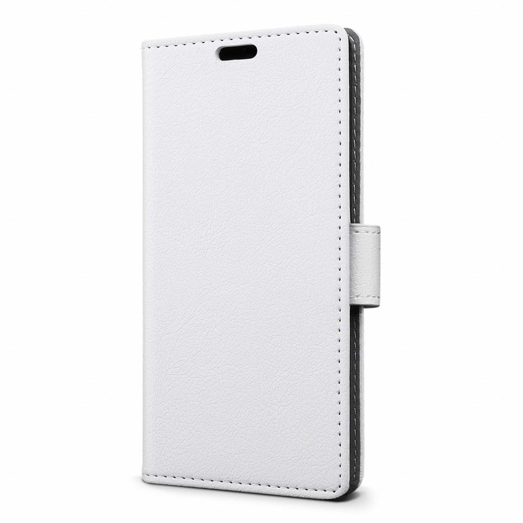 جراب جالكسي ايه 8 بلس (2018) Galaxy A8 Plus ماركة سليو SLEO محفظة جلد مع مكان للبطاقات وستاند - ابيض