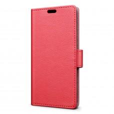 جراب جالكسي ايه 8 بلس (2018) Galaxy A8 Plus ماركة سليو SLEO محفظة جلد مع مكان للبطاقات وستاند - احمر