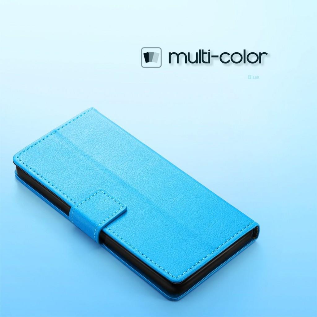 جراب جالكسي ايه 8 بلس (2018) Galaxy A8 Plus ماركة سليو SLEO محفظة جلد مع مكان للبطاقات وستاند - ازرق