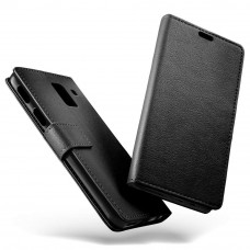 جراب جالكسي ايه 8 بلس (2018) Galaxy A8 Plus ماركة سليو SLEO محفظة جلد مع مكان للبطاقات وستاند - اسود
