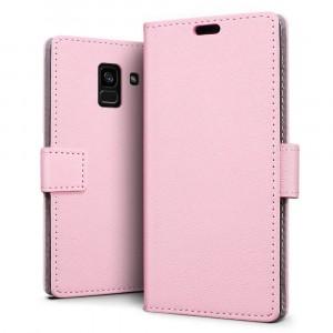 جراب جالكسي ايه 8 بلس (2018) Galaxy A8 Plus ماركة سليو SLEO محفظة جلد مع مكان للبطاقات وستاند - وردي