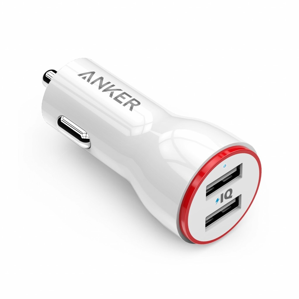 شاحن سيارة 24 واط و4.8 أمبير ماركة أنكر Anker يناسب اغلب الأجهزة للشحن من منفذ يو اس بي 2-منفذين يو اس بي USB يصل إلى 4.8 أمبير مع تقنة أنكر IQ لتسريع الشحن - ابيض