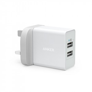 شاحن جداري 24 واط و4.8 امبير ماركة أنكر Anker يناسب جميع الأجهزة 2-منفذين يو اس بي USB يصل المجموع إلى 4.8 أمبير تدعم تقنة أنكر IQ لتسريع الشحن - ابيض