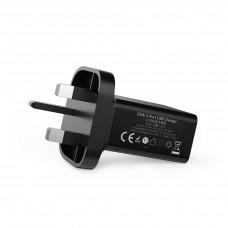 شاحن جداري 24 واط و4.8 امبير ماركة أنكر Anker يناسب جميع الأجهزة 2-منفذين يو اس بي USB يصل المجموع إلى 4.8 أمبير تدعم تقنة أنكر IQ لتسريع الشحن - اسود