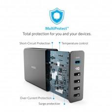 شاحن جداري 60 واط ماركة أنكر Anker يناسب جميع الأجهزة 4-منافذ يو اس بي USB و منفذ تايب سي يصل المجموع إلى 6 أمبير تدعم تقنة أنكر IQ لتسريع الشحن - اسود