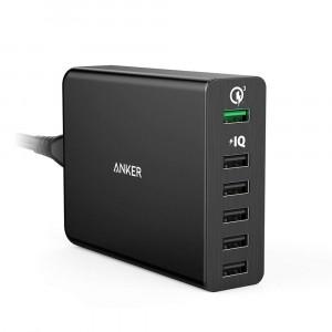 شاحن جداري 60 واط ماركة أنكر Anker يناسب جميع الأجهزة 6-منافذ يو اس بي USB واحد بتقنية كويك شارج والبقية تدعم تقنة أنكر IQ لتسريع الشحن يصل المجموع إلى 6 أمبير - اسود