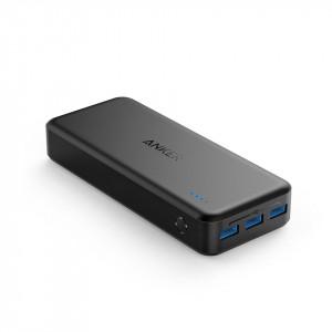 بطارية متنقلة بسعة 20000 ملي أمبير من ماركة أنكر Anker تناسب جميع الأجهزة 3 منافذ يو اس بي USB للشحن من منفذ يو اس بي وقوة تصل إلى 2400 ملي امبير لشحن هاتفك, ومنفذين لشحن البطارية - اسود