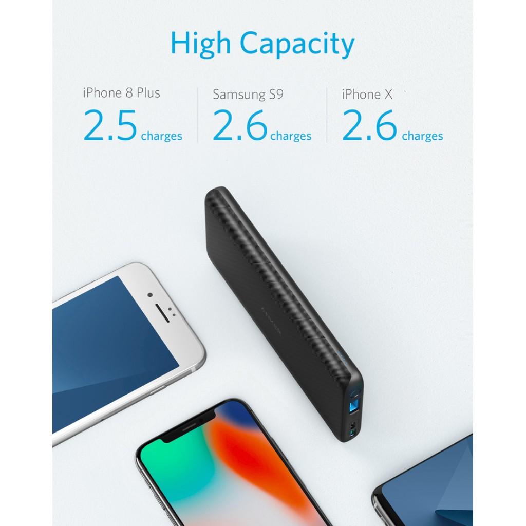 بطارية متنقلة بسعة 10000 ملي أمبير من ماركة أنكر Anker تناسب جميع الأجهزة وقوة شحن تصل إلى 2400 ملي امبير لشحن هاتفك, ومنفذين لشحن البطارية - اسود