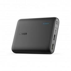 بطارية متنقلة بسعة 13000 ملي أمبير من ماركة أنكر Anker تناسب جميع الأجهزة 2 منفذين يو اس بي USB للشحن من منفذ يو اس بي وقوة تصل إلى 2400 ملي امبير - اسود