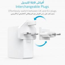 شاحن جداري 27 واط ماركة أنكر Anker يناسب جميع الأجهزة 4-منافذ يو اس بي USB تدعم تقنية أنكر IQ لتسريع الشحن بمجموع قوة تصل ل 5.4 امبير لكل المنافذ - ابيض