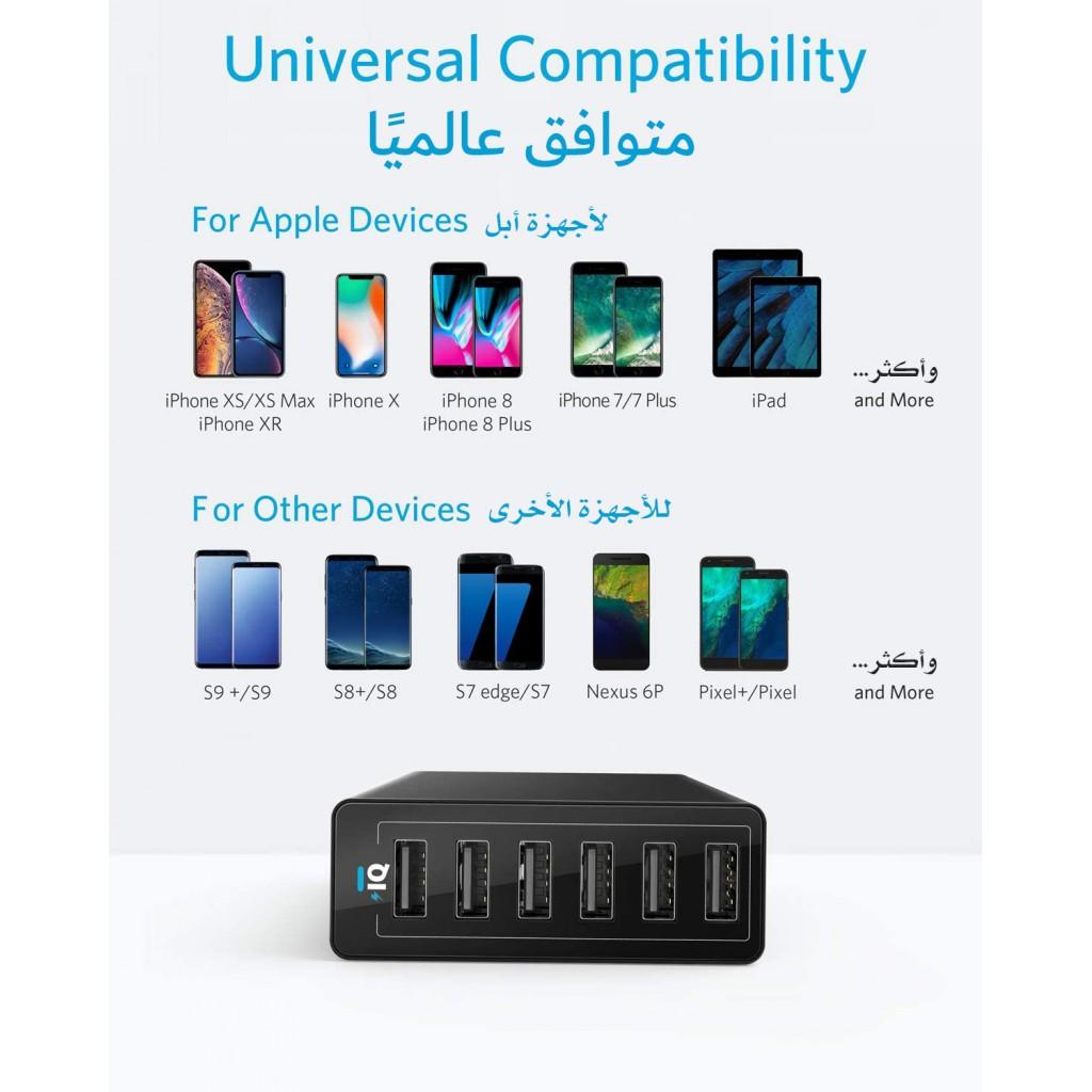 شاحن جداري 60 واط ماركة أنكر Anker يناسب جميع الأجهزة 6-منافذ يو اس بي USB تدعم تقنية أنكر IQ لتسريع الشحن بمجموع قوة تصل ل 12 امبير لكل المنافذ - اسود