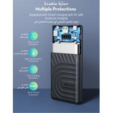 بطارية متنقلة ماركة راف بور RAVPower بسعة 10000 ملي أمبير, منفذ بي دي تايب سي 18 واط, منفذ يو اس بي يدعم الشحن السريع QC3.0, يشحن أجهزة الايفون والآيباد وأجهزة الاندرويد وجميع الأجهزة التي تدعم الشحن من تايب سي, موديل: RP-PB195 - اسود