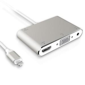 قطعة تحويل إلى الشاشة (التلفاز) لأجهزة أبل ايفون, ايباد, محول متعدد الخيارات من منفذ لايتنينق إلى أتش دي أو VGA أو AV - فضي