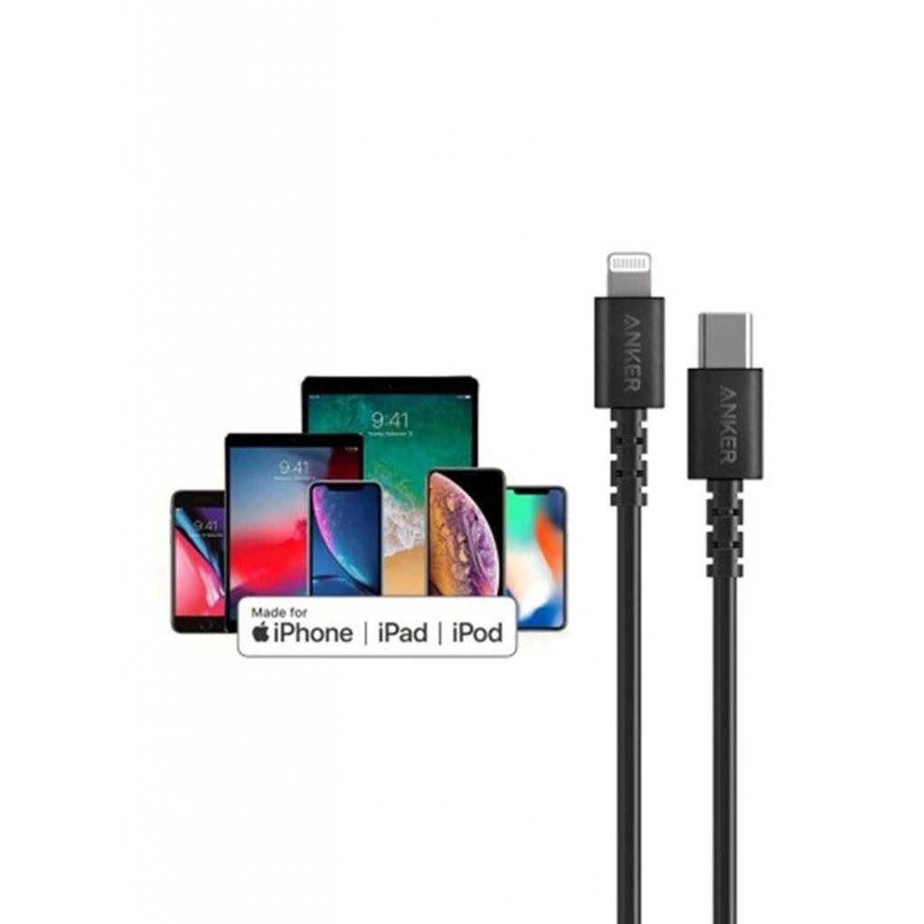 سلك شاحن PD للآيفون ماركة أنكر Anker بطول 0.9 متر لأجهزة أبل ايفون وايباد من يو اس بي تايب سي USB-C إلى منفذ شحن الآيفون والآيباد لايتنينيق - اسود