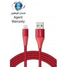 سلك شاحن ايفون ماركة أنكر Anker بطول 1.8 متر لأجهزة أبل ايفون وايباد من يو اس بي USB إلى منفذ شحن الآيفون والآيباد لايتنينيق - احمر