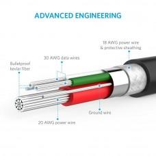 سلك شاحن لأجهز اندرويد منفذ ميكرو يو اس بي Micro USB ماركة أنكر Anker عدد 5 كابلات شحن طول الاسلاك 2×0.9 متر, 1×1.8 متر, 1× 3 متر, 1×0.3 متر - 5 حبات اسود