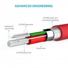 سلك شاحن 1.8 متر لأجهز اندرويد القديمة منفذ ميكرو يو اس بي Micro USB ماركة أنكر Anker كابل شحن اندرويد العادي -6 قدم- احمر