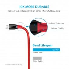 سلك شاحن 1.8 متر لأجهز اندرويد القديمة منفذ ميكرو يو اس بي Micro USB ماركة أنكر Anker كابل شحن اندرويد العادي كابل متين -6 قدم- احمر