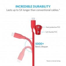 سلك شاحن 3 متر لأجهز اندرويد القديمة منفذ ميكرو يو اس بي Micro USB ماركة أنكر Anker كابل شحن اندرويد العادي -10 قدم- احمر