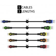 سلك شاحن 5 حبات لأجهز اندرويد القديمة منفذ ميكرو يو اس بي Micro USB ماركة فوليوتز Volutz كابل شحن اندرويد العادي , 1× 3 متر, 1× 2متر, 3× 1 متر - 5 حبات