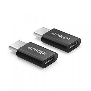 قطعة تحويل من شحن اندرويد قديم إلى شحن اندرويد حديث ماركة أنكر Anker, من ميكرو يو اس بي Micro USB إلى يو اس بي سي USB-C - اسود - 2 حبتين