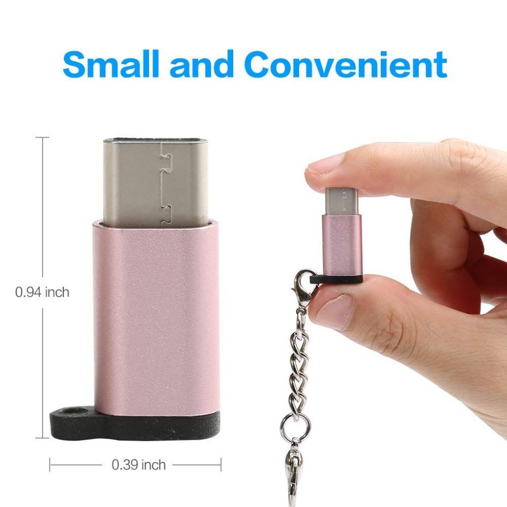 قطعة تحويل من شحن اندرويد قديم إلى شحن اندرويد حديث, من ميكرو يو اس بي Micro USB إلى يو اس بي سي USB-C - بألوان مختلفة - 5 حبات