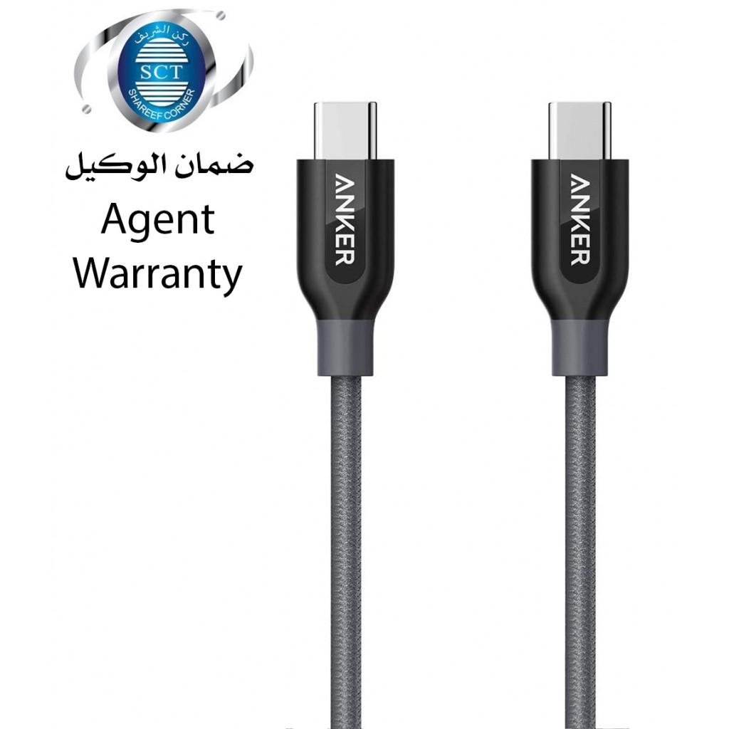 سلك شاحن تايب سي USB-C إلى USB-C ماركة أنكر Anker بطول 0.9 متر لجميع الأجهزة بمنفذ يو اس بي سي كابل متين من يو اس بي تايب سي إلى يو اس بي تايب سي - رمادي