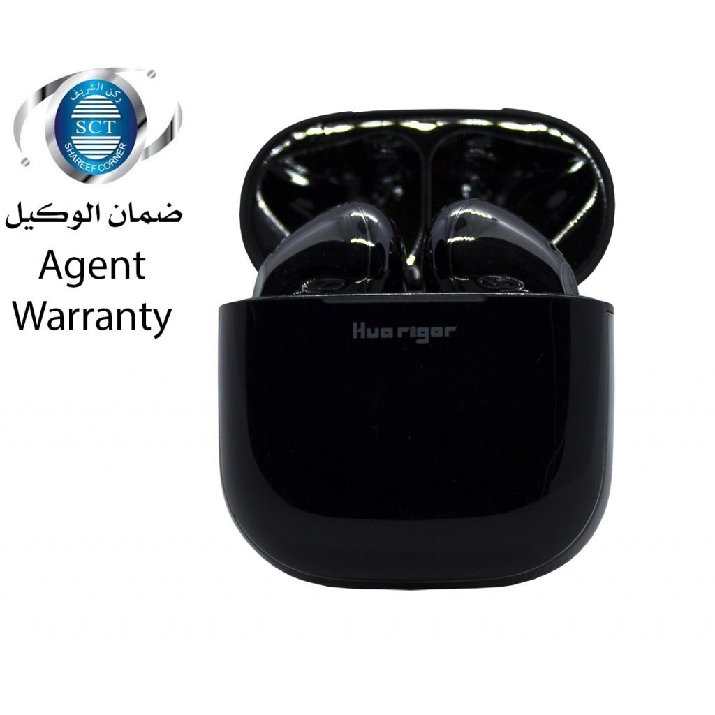 سماعات إيربودس لاسلكية بلوتوث ماركة هواريجور Huarigor متوافق مع جميع الأجهزة عبر البلوتوث مع ميكروفون مدمج - اسود