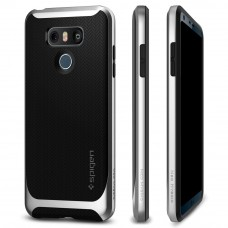 كفر ال جي جي 6 LG G6 ماركة سبايجن Spigen قطعتين كفر مرن اسود وإطار صلب - فضي