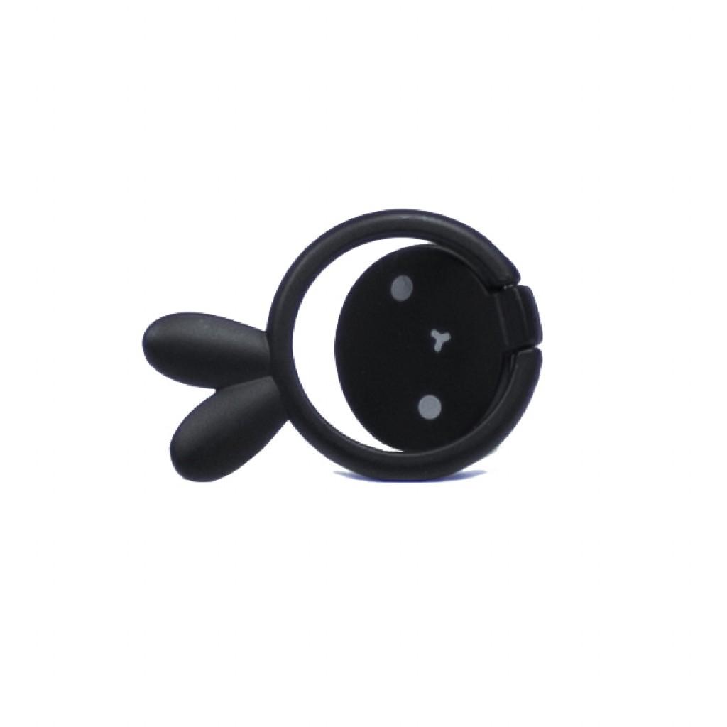 مسكة خاتم معدنيه للأجهزة الذكية, متوافق مع كل الجوالات والتابلت , متوافق مع الحوامل المغناطيسيه - اسود