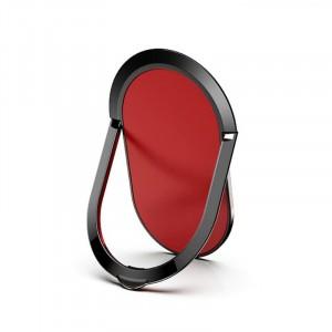 مسكة وستاند بيضاويه معدنيه للأجهزة الذكية, متوافق مع كل الجوالات والتابلت , متوافق مع الحوامل المغناطيسيه - احمر