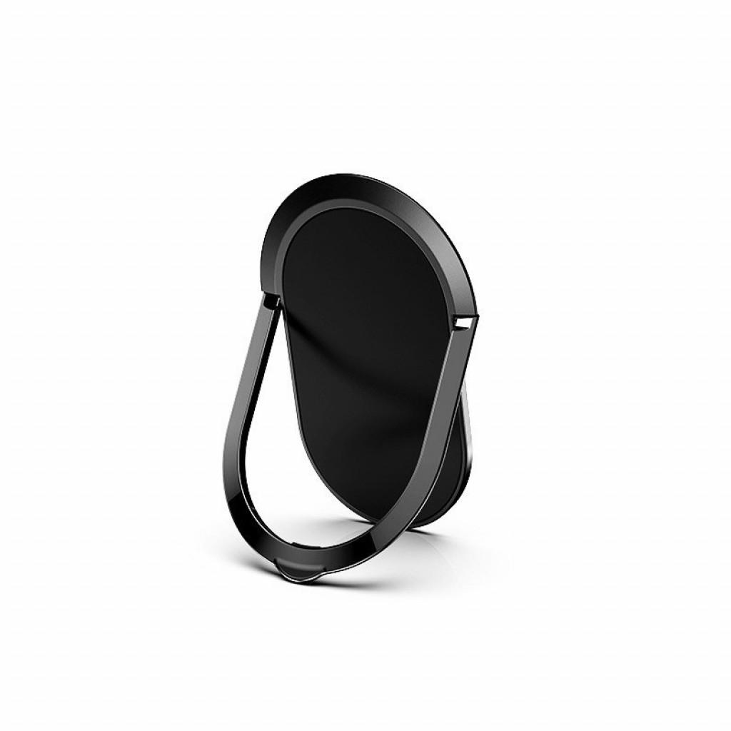 مسكة وستاند بيضاويه معدنيه للأجهزة الذكية, متوافق مع كل الجوالات والتابلت , متوافق مع الحوامل المغناطيسيه - اسود