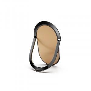 مسكة وستاند بيضاويه معدنيه للأجهزة الذكية, متوافق مع كل الجوالات والتابلت , متوافق مع الحوامل المغناطيسيه - ذهبي
