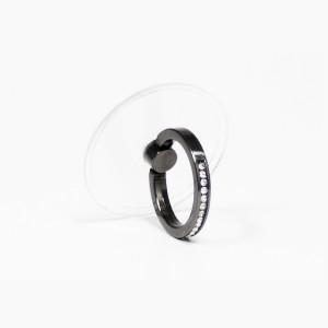 مسكة خاتم نسائية للأجهزة الذكية, متوافق مع كل الجوالات والتابلت , قاعدة شفافة دائرية - اسود