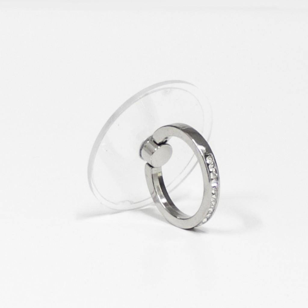 مسكة خاتم نسائية للأجهزة الذكية, متوافق مع كل الجوالات والتابلت , قاعدة شفافة دائرية - فضي