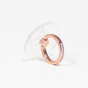 مسكة خاتم نسائية للأجهزة الذكية, متوافق مع كل الجوالات والتابلت , قاعدة شفافة دائرية - وردي