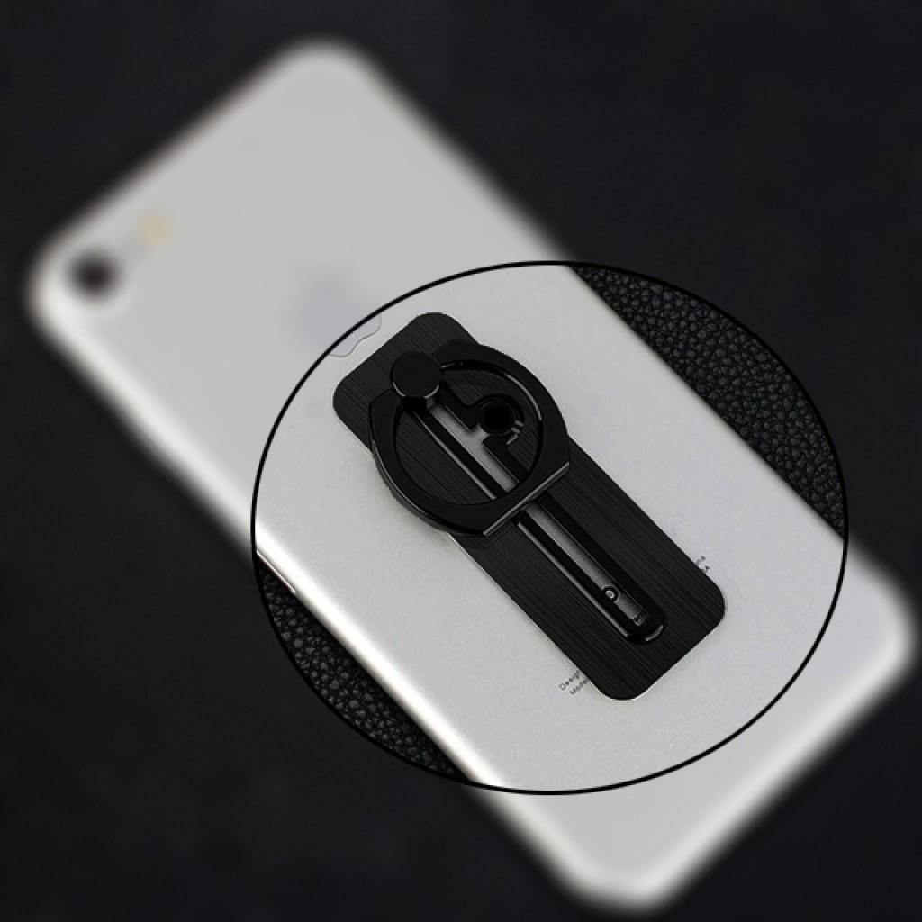 مسكة خاتم معدنية للأجهزة الذكية, مع مجرى للتعديل, متوافق مع كل الجوالات والتابلت - اسود