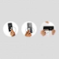 مسكة خاتم معدنية للأجهزة الذكية, مع مجرى للتعديل, متوافق مع كل الجوالات والتابلت - فضي