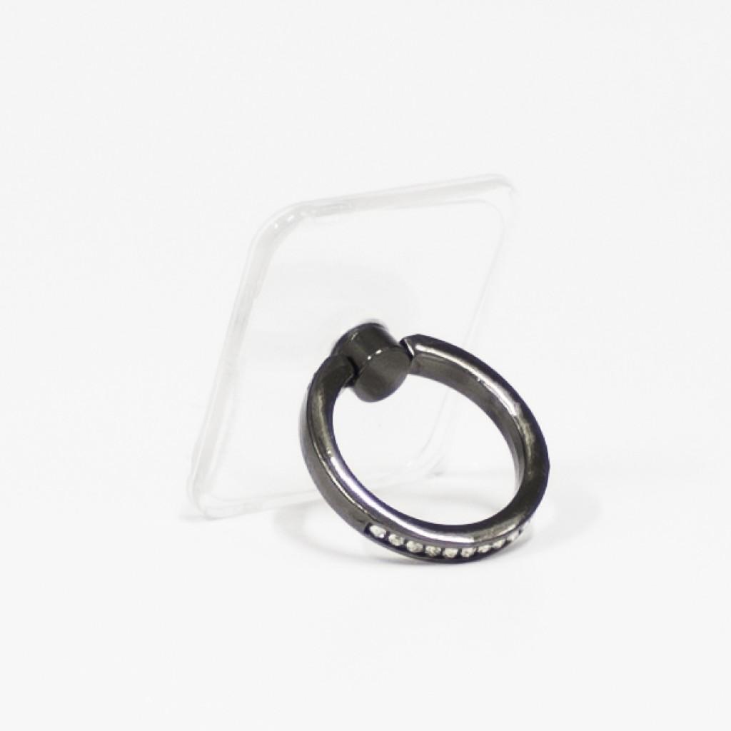 مسكة خاتم نسائية للأجهزة الذكية, متوافق مع كل الجوالات والتابلت , قاعدة شفافة مستطيلة - اسود