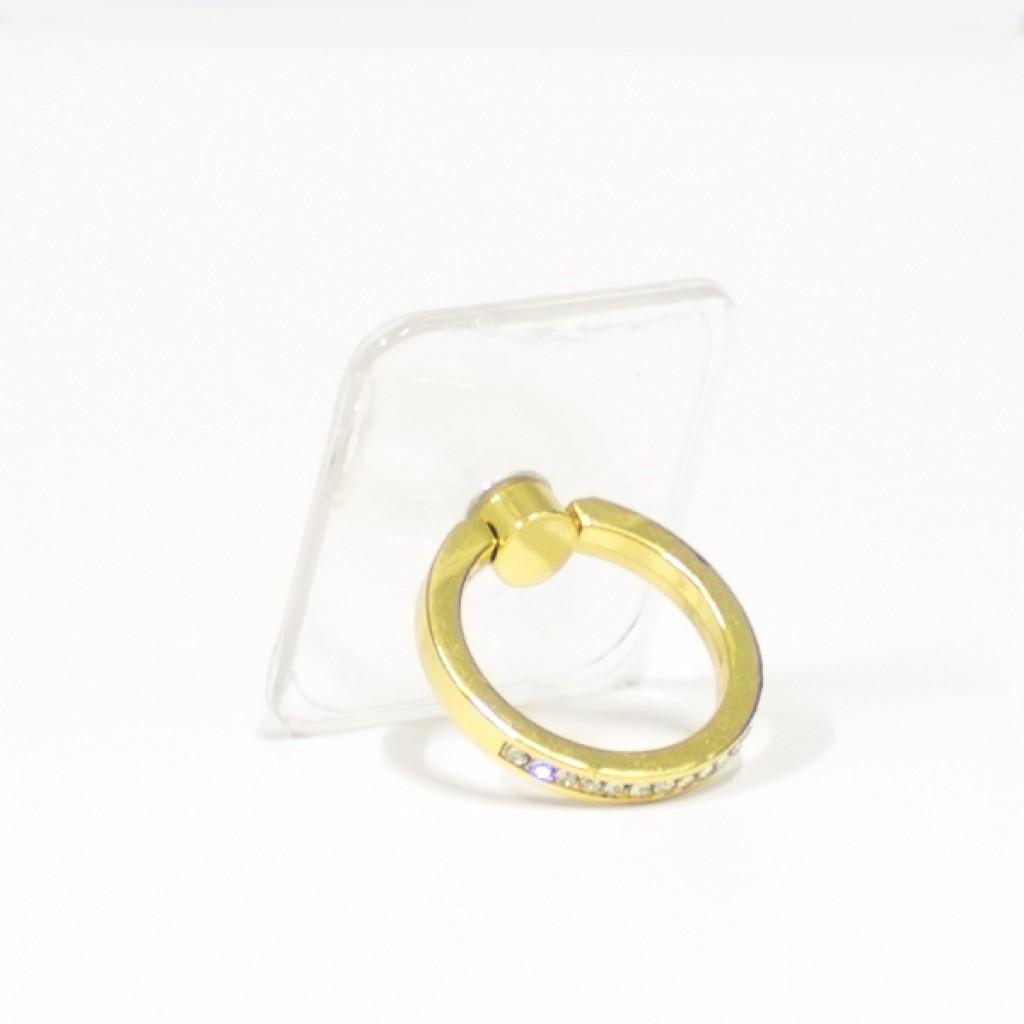 مسكة خاتم نسائية للأجهزة الذكية, متوافق مع كل الجوالات والتابلت , قاعدة شفافة مستطيلة - ذهبي
